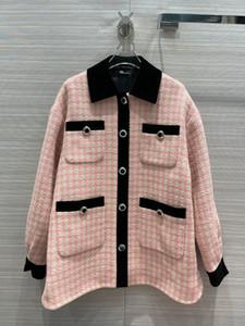 2021 Milan Runway Abrigos Cuello de solapa de manga larga Marca de manga larga Mismo estilo Abrigos de zanjas mujeres Diseñador abrigos 0104-12