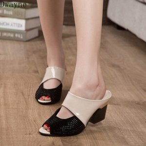 2020 Summer New Thick Heeled Wild Ladies High Heels Fish Mouth Large Size Rhinestone Sandals Fashion sHU1#