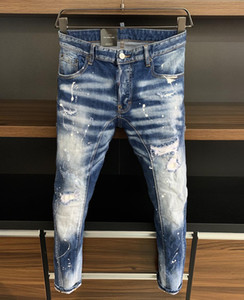 2020 new brand of fashionable European and American men's casual jeans ,high-grade washing, pure hand grinding, quality optimization LA385