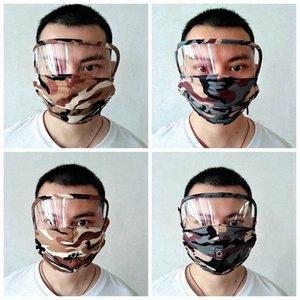 Máscaras In1 camuflaje Fa Fa Hole escudo con lavable reutilizable Máscara de la cremallera Fa # H7fm máscaras transparente bebida Boca 2 Eye RRA3265 algodón M PCNS