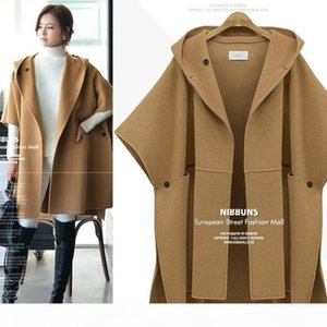 Europe coats woman plus size clothes women fat cloak winter wool jacket long trench coat large size jackets for women