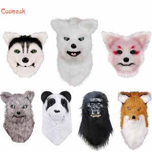 Cosmask Movable Boot Fox Mask Mask Animal Panda Tiger Husky Orangutan Piel artificial para disfraces de Halloween Fiesta