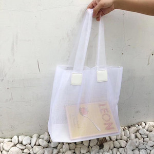 2020 borse a spalla Estate New Solide colori donne femminile Medio Borse netto Beach Mesh Bag Gioventù traslucido Bag Whole Sale