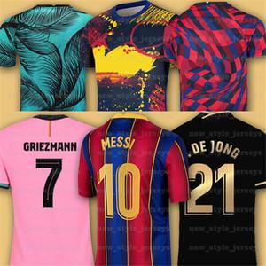 10 Messi 2021 바르셀로나 축구 유니폼 7 Griezmann Fati Martens Semedo Piqué Busquets 남성 키트 Camiseta de Fútbol Umtiti Firpo Dembélé