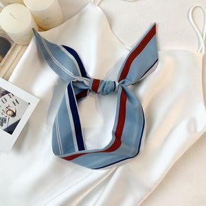 2020New printing hair scarfs Color stripes small chiffon neckchief for women handbag ribbons Chic women's head tie scarfs 5X90cm