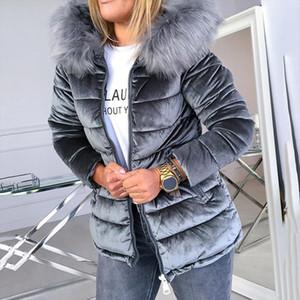 Winter Velvet Jacket Coat Women Cotton Padded Jackets Gray Pink Plus Size 4XL Hood Fur Collar Thick Fashion Basic Snow Outerwear