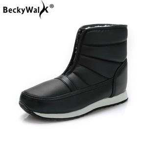 BeckyWalk Réchauffez Bottes de neige Femme avant Chaussures Zipper femme facile Wearing antidérapage Accueil Botte d'hiver Femmes Chaussures confortables WSH3100