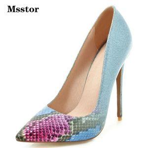 Cobra de impressão Sapatos Mulheres hgih dos saltos de estilete Sapato de bico fino Sexy Moda Bombas Sapatos Salto Mulheres-de-rosa verde das senhoras do partido elegantes