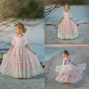 Pink Flower Girl Dresses For Weddings Ruffle Lace Little Girls Pageant Dress Jewel Neck Short Sleeve First Holy Communion Dresses