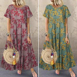 Women's Summer Sundress 2020 ZANZEA Fashion Printed Maxi Dress Casual Short Sleeve Tunic Vestidos Female O Neck Robe Oversized