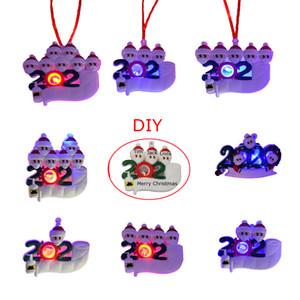 Cuarentena LED de Navidad Adornos 2021 regalos del favor Decoración de fiesta del ornamento del árbol de iluminación Juguetes Survivor personalizada Navidad de la familia