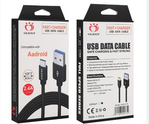 Olesit 2M 6.6FT 3M 10FT 3.1A fast charger Micro USB Cable Data type-c cable for samsung huawei htc LG with package