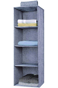 Collapsible Hanging Storage shelves Hanging Closet Organizer with 4 Shelves Clothes Storage Box for Clothes, Shoes, Socks, Towels, Underwear