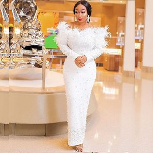 White Long Sleeves Evening Dresses Mermaid Feather Major Pearls Beads Aso Ebi Prom Dress Plus robe de soirée de mariage