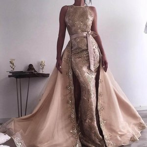 New Beads Mermaid Evening Dresses With Detachable Train Appliqued Overskirt Lace Celebrity Prom Dress robe de soiree