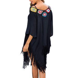 Summer Women Bikini Cover Up Dress Beachwear Kaftan Bathing Suit Vintage Shawl Female Swimwear Beach Cover Ups Lady Beach Dress