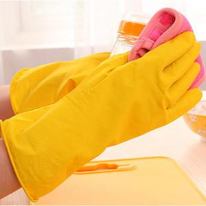 Venda quente Fina Limpeza Durável Luva Impermeável Amarelo Borracha Housework Mittens Non Slip Design de Grão Long Prato Lavagem DH0029