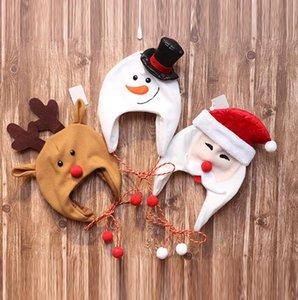 Kinder Weihnachtsmütze Weihnachtsmütze Dekoration Kinder Vlies-lange Seil-nette Karikatur-Weihnachtsmann Schneemann Elch-Kostüm-Hut-Ski Caps E101401