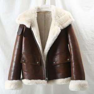 OFTBUY 2020 Marca Chaqueta de invierno Mujer Abrigo de piel real Merino natural Piel de oveja de piel genuina Ropa exterior Streetwear grueso Warmx1019