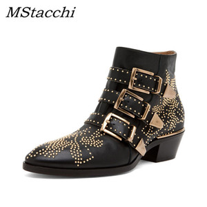 MStacchi Boots Women Round Toe Rivet Flower Boots Susanna Studded Genuine Leather Ankle Boots Women Botines Luxury Botas Mujer 201020