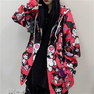 Felpa Houzhou Kuromi Felpa Autumn Moda Donna Kawaii Anime Hoodie Felpa con cappuccio vintage manica lunga carina pullover donne nero rosa signore top 201216