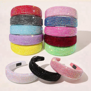 Full Crystal Fandbands Diamond imbottito Designer Designer Fascia Bling Strass Donne Testa Hop Hoop Luxurious Hairband Girls Accessori per capelli DW6000