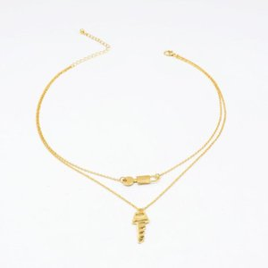 2020 New Ins Gold Chain Double Layers Lock Key Minimalism Pendant Choker Necklaces Korean Fashion Chic Party Jewelry Accessory