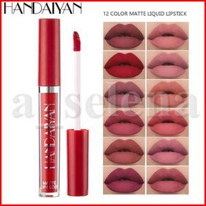 Handaiyan Mate Liquid Lipstick impermeable Brillo de labios suaves labios maquillaje nude atractivo natural mate de color brillo de labios 12 colores