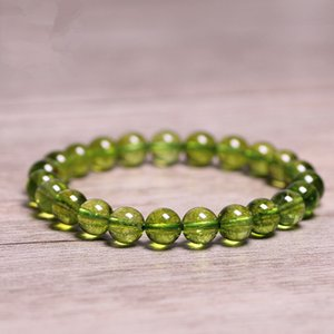 Natural Stones Green Peridot Bracelet Olivine Crystal Quartz Round Bead Men Women Bracelet Healing Energy Gift Lucky Jewelry LJ201020