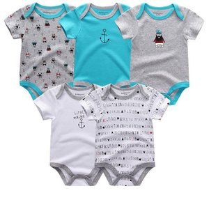 A001 5pcs lot Unisex Top Quality Rompers Short Sleeve Cottom O-neck 0-12m Novel Newborn Boys&girls Roupas De Bebe Baby Clothes J190526