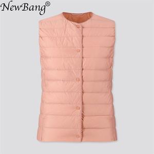 NewBang Women's Warm Vests Ultra Light Down Vest Women Matt Fabric Waistcoat Portable Warm Sleeveless Winter Liner 201029