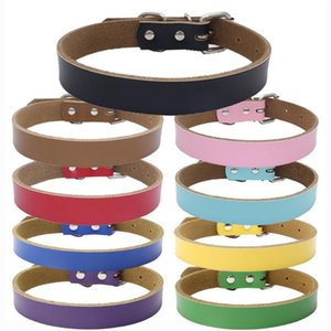 Free Personalization Plain Leather solid color dog collars Puppy dog cat Collar Small Medium Large Extra Large KKF2147