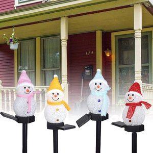Outdoor Garden Decoration Landscape Light Solar Christmas Series Cartoon Snowman Ground Lamp Platform Creative LED Lawn Light