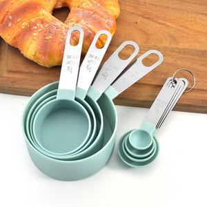 4 قطع متعددة الأغراض ملاعق كأس أدوات قياس PP الخبز الملحقات الفولاذ المقاوم للصدأ البلاستيك مقبض أدوات المطبخ W-00560