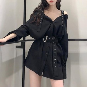 Women Dress Gothic Korean Style Black Women Dresses Straight Belt Button Casual Plain Dark Goth Female Sexy Dresses