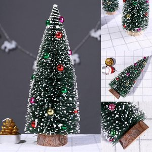 25# Christmas Tree Mini Pine Tree With Wood Base DIY Crafts Home Table Top Decor Festival Table Miniature Ornament Decorations