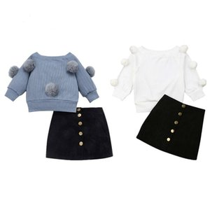 Autumn Toddler Baby Kids Girls Clothes Sets 1-6Y Long Sleeve Hairball Knit Tops Sweater+Button Mini Skirt Warm Outfits Sets 201027
