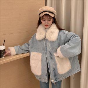 2020 Loose Coat Woman Winter Real Fur Collar Cotton-padded Outwear Denim Jacket Warm Chic Jacket Befree Chaqueta Mujer Hot