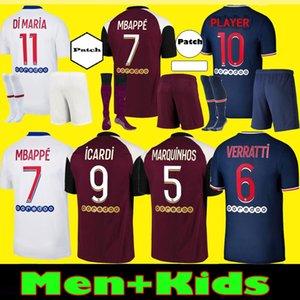 Uomo Bambini Maillots de Football Kit 20 21 PSG maglie di calcio 2020 2021 Parigi Mbappe Terzo pullover camicia di calcio ICARDI Verratti