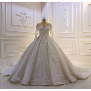 Luxury Sparkly Ball Gown Wedding Dresses Puffy Tulle Beads Long Sleeves Vestidos De Novia Sweep Train Wedding Gowns