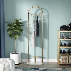 Marble clothes rack floor storage clothes hanging rack metal marble simple bedroom clothes rack floor hanger