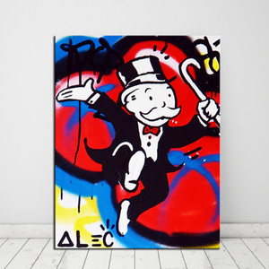 HEALTH Alec Monopoly Graffiti Home Decor Handpainted &HD Print Oil Painting On Canvas Wall Art Canvas Pictures 201009