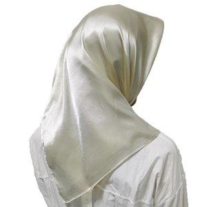 1 pc headpiece muçulmano cabeça lenços macio seda sensação shawl cabeça envoltórios cor sólida lenço lenço grande quadrados lenços cachecol q bbykor