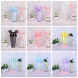 DHL 8 colors 15oz Acrylic tumbler with dome lid plus straw double Wall Clear Plastic Tumblers with Mouse Ear Reusable cute drink cup FY4301