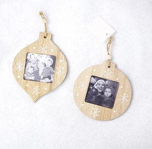 Sublimation Wood Frame Decorations Blanks Pendant DIY Photo Pendant Wooden Photo Frame Christmas Gifts Xmas Tree Ornament YYB4138