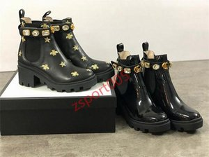 Women's progettista Martin boots Desert Flamingo Love Arrow 100% genuine leather thick heel platform non-slip winter 36-42