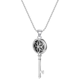 trendy stainless steel accessories women jewellery key shaped flower necklaces