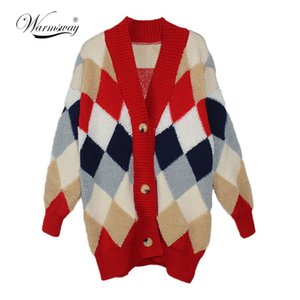 Warmsway 2020 Donne addensare Cardigan Autumn Winter Open Stitch Poncho Knitting Sweater Natale oversize cappotto del rivestimento C-152 C1024