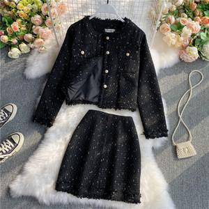 2020 Осень Женщины 2 Piece Set Fashion Gold кнопка однобортный Tweed короткая куртка + Элегантные костюмы кисточки Bodycon юбка