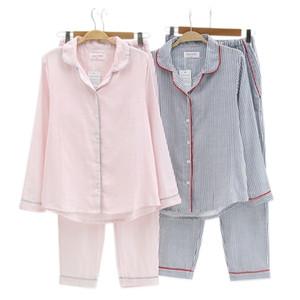 Sexy Vertical striated pajamas sets women sleepwear 100% gauze cotton Japanese simple long-sleeve homewear pijamas women pyjamas Y200425